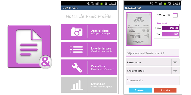 Notes de Frais Mobile : aperçu de l'application